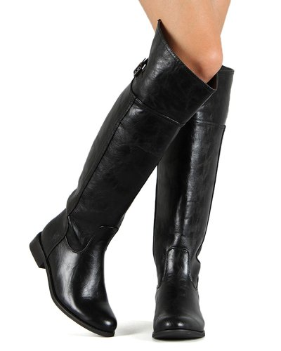 Leatherette Boot Toe Black High Round BD49 Breckelles Riding Crinkle Women Thigh qwXaWvtzS