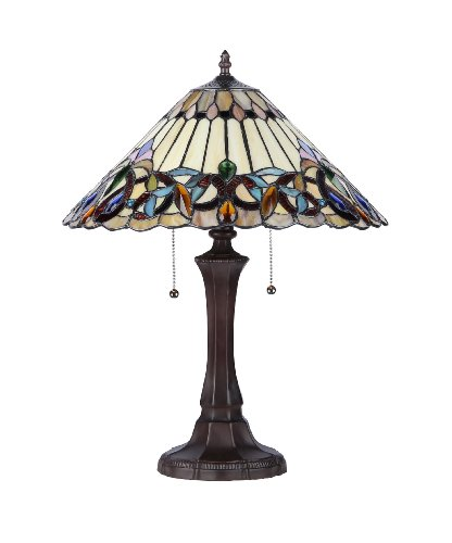 Chloe Lighting CH33318VI16-TL2 Ambrose Tiffany-Style Victorian 2-Light Table Lamp with 16-Inch Shade