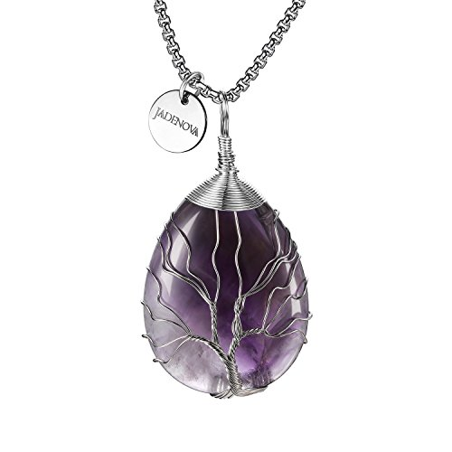 JADENOVA Family Tree Necklace Tree of Life Natural Amethyst Gemstone Pendant Handmade Teardrop Pendant Necklace 24'' Stainless Steel Chain