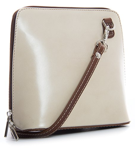 Big Handbag Shop, Borsa a tracolla donna One Bianco (Cream - Brown)
