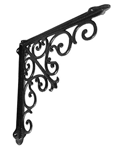 NACH js-90-063 Cast Iron Victorian Shelf Mount Bracket, Large 15 x 2 x 15 Inches, Black, 1 Pack