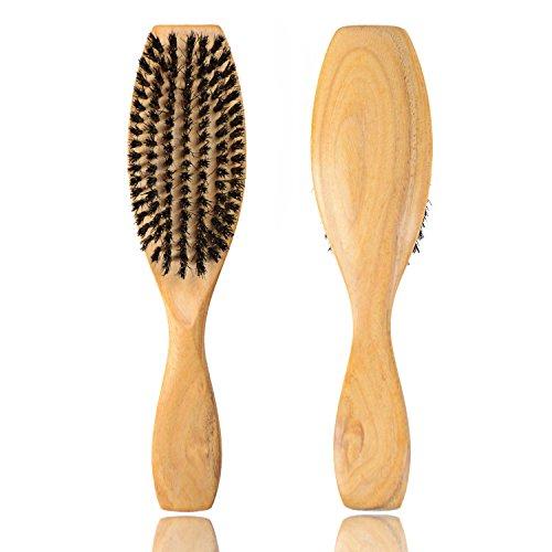 FESHFEN Wild Boar Bristle Paddle Hair Brush Set Natural Sandalwood Handle Hair Brushes for Women Men - Massage Anti Static Adds Shine and Improves Handmade Natural Hair Brush (Boar Hog)