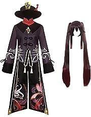 Genshin Impact Cosplay Kostuum Hu Tao Cosplay Outfit Pruik Hoed Jurk Kostuum Set Dubbele Staart Pruik Spel Halloween Party Rollenspel