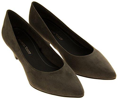 Marco Tozzi 22413-27 Mujer Gris Efecto De Gamuza Medio Talón Zapatos EU 36 GCKe6X