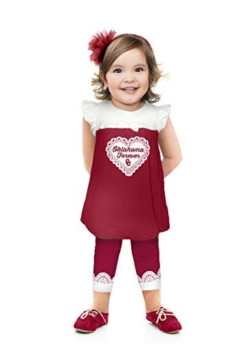 Cheekie Peach NCAA Oklahoma Sooners Girls Infant Ruffle Set, 0-3 Months, Crimson