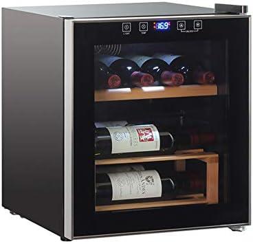 FREIHE Nevera para Vinos 8 Botellas - Chiller Grande De Vino Blanco Y Rojo De 42L - Bodega De Mostrador - Refrigerador Independiente con Pantalla Led Controles TáCtiles Digitales, Black