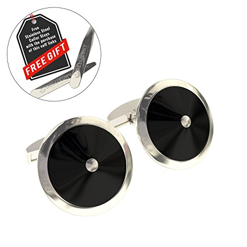 Cuff Link Set - Silver & Black Round for Men with Bonus Steel Collar Stays by Deluxury Fine Accessories (Image #2)