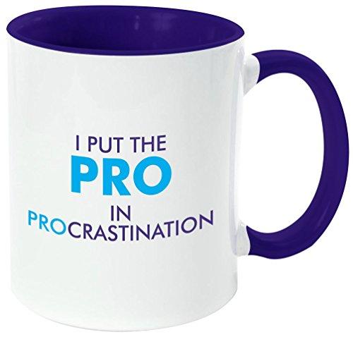 Rikki Knight 'PRO in PROcrastination' Funny Quotes Handle and Inside Design Ceramic Coffee Mug Cup, Dark Blue, 11 oz