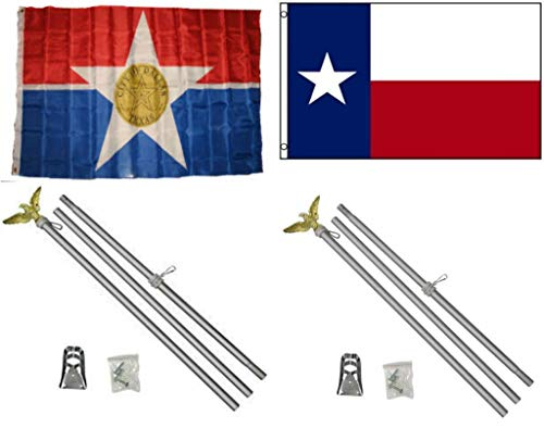 ALBATROS 3 ft x 5 ft City of Dallas with State of Texas Flag with 2 Aluminum with Pole Kit Sets for Home and Parades, Official Party, All Weather Indoors Outdoors
