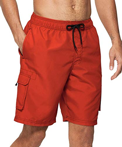 Vogyal Mens Swim Trunks Quick Dry Beach Board Shorts with Mesh Lining, Red, US XL