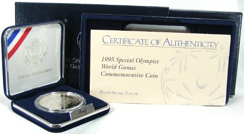 (1995 Proof Special Olympics Commemorative Silver Dollar w/Box)
