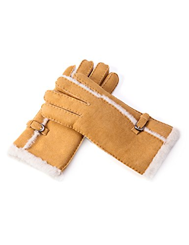 YISEVEN Women's Merino Rugged sheepskin Shearling Leather Gloves Furry Fur Lined Soft Thick Warm Heated Lining Cuffs for Winter Cold Weather Dress Driving Work Xmas Gifts, Camel Small (Full Shearling Lining)