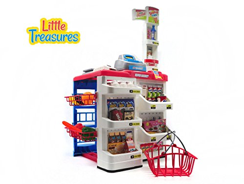 Little Treasures home supermarket pretend toy play-set Complete with hand basket, cash register, pricing-gun, pin-pad, weigh scale, and shelves stocked with food – 24 accessories play set for kids