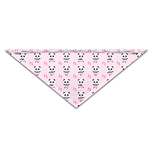OHMYCOLOR Pink Ballerina Panda Pattern Dog Bandanas Scarves Triangle Bibs Scarfs Multi Coloured Basic Neckerchief Cat Collars Pet Costume Accessory Kerchief for Large&Medium&Small Puppy
