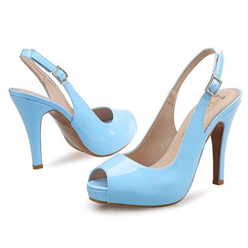 GAOLIM Sandalias De Tacón Alto Talón Delgado Mujeres Desnudas De Verano 41-43 Grandes Zapatos De Tacones Altos 10.5cm azul
