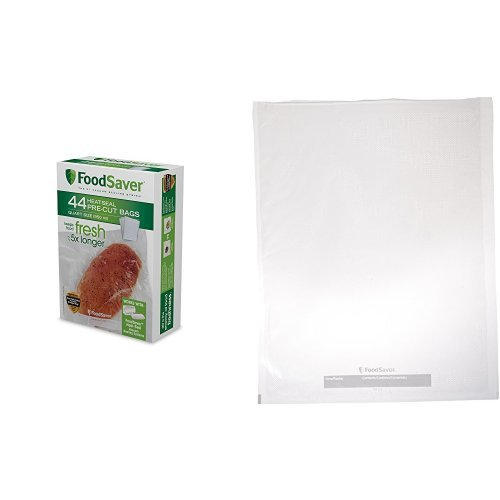 FoodSaver 1-Quart Pre-Cut Vacuum Seal Bags with BPA-Free Multi-Layer Construction with Pre-Cut Vacuum Seal Bags Combo Pack, 25 Quart-Size & 10 Gallon-Size Bags