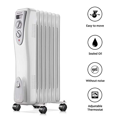 Homeleader Electric Oil Filled Radiator Heater, Portable Space Heater, Electric Heater for Home and Office, 1500W, White