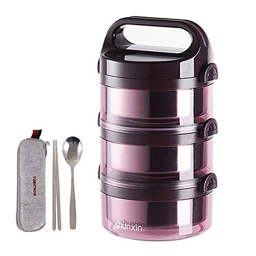 (Stackable Bento Box Stainless Steel Lunch Boxes Insulated Detachtable Food Container with Handle Leakproof Lunch Containers for Adults(Purple-3 Tiers))