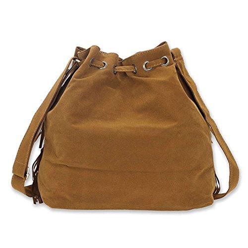 mujer Tassel para bag WEI XIAO al Caqui Bolso hombro Rx0UwU5q