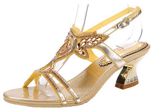 Embellished Stud - YooPrettyz Low Heel Evening Sandals Embellished Stud Butterfly Dress Party Wedding Sandal Gold 10