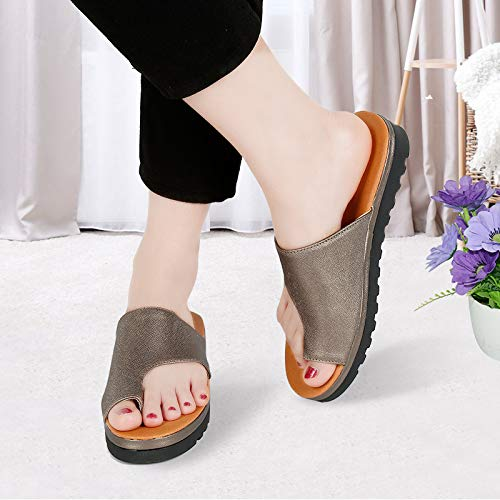Amazon.com: twbbt Women Comfy Platform Shoes with Bunion Corrector Function,Soft PU Leather Sandal Bunion Corrector and Bunion Relief Khaki: Shoes