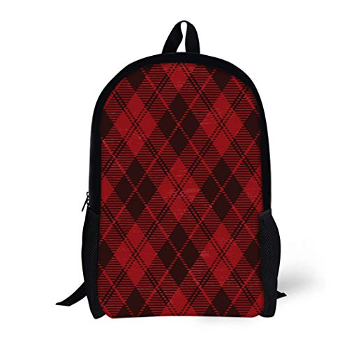 Pinbeam Backpack Travel Daypack Pattern Red Plaid Tartan Aged Checkered Damaged Geometric Waterproof School Bag