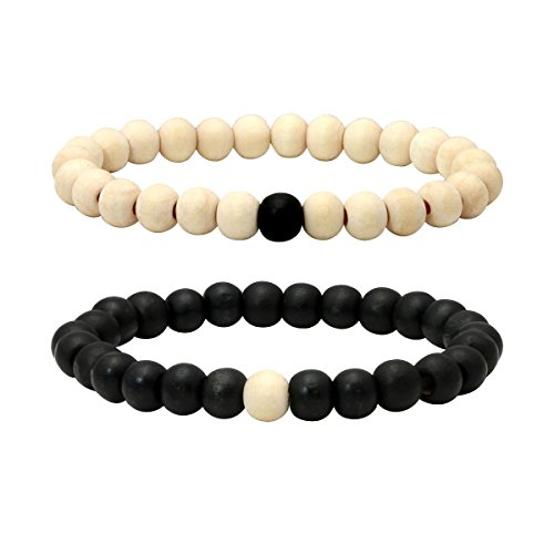 Eigso 2 Pcs Wooden Beaded Bracelet Bangle for Men Women Distance Bracelet 7