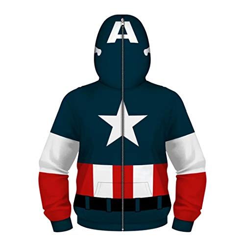 Boys Kids Captain America Hoodies Costume Cosplay 3D Jackets Pullovers]()