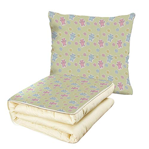 (iPrint Quilt Dual-Use Pillow Nursery Baby Toy Drawing Pattern with Soft Colored Teddy Bears and Wildflowers Decorative Multifunctional Air-Conditioning Quilt Pale Green Pink Blue)