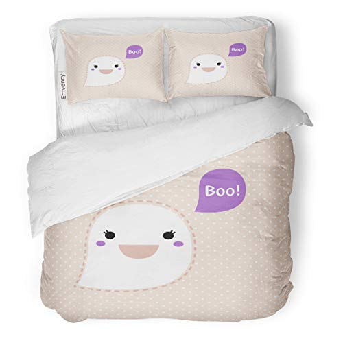 Semtomn Decor Duvet Cover Set Twin Size Anime Cute Kawaii Ghost Dotted Retro Boo Clipart Adorable 3 Piece Brushed Microfiber Fabric Print Bedding Set -