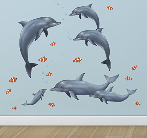 Create-A-Mural Dolphin Family Wall Decals (Murals Underwater Wall)
