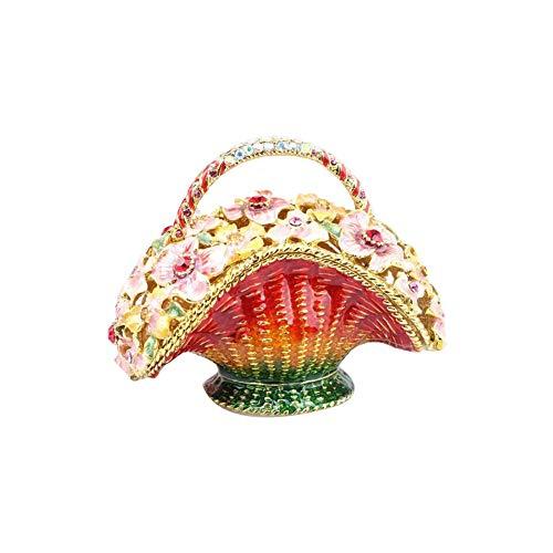 Basket Enamel Flower - Flower Basket Enamel Trinket Box Red Rhinestone Jewelry Organizer Home Decor Earring Necklace Storage Box