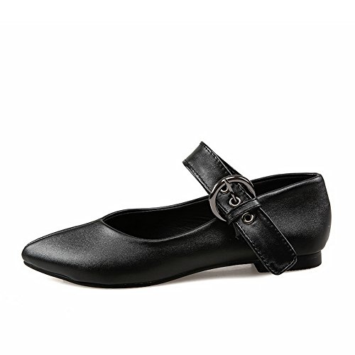 BalaMasa Womens Buckle Square Heels Pointed-Toe Urethane Mary Jane Flats blackpu NFDAs9