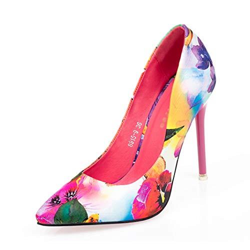 Drew Toby Women Pumps Floral Pointed-Toe Shallow Fashion Elegant OL High Heels