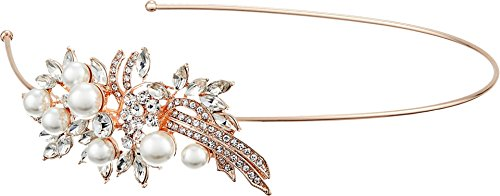 Nina Women's Cai Pearl/Crystal Side Headband Rose Gold Pearl/Crystals One Size