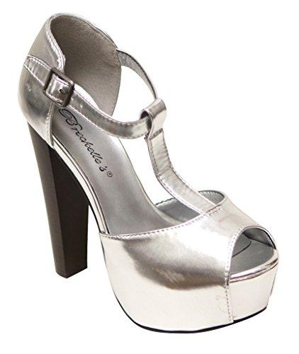 suede strap Brina Silver sandals high Womens back heel 31 closed toe platform Breckelles peep T 76Ypd7wq