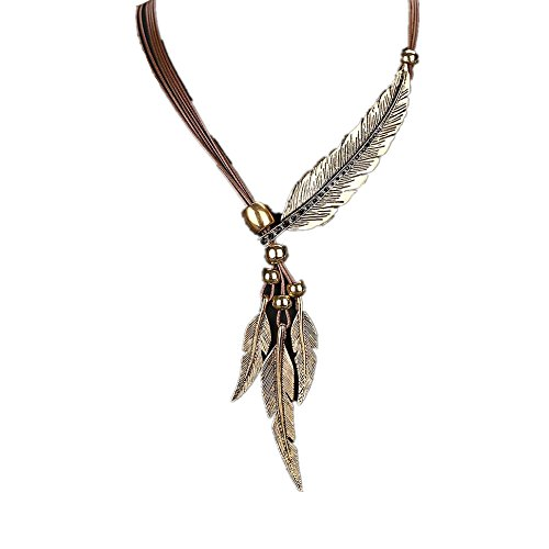 - Hmlai Fashion African Style Vintage Feather Necklace Sweater Chain Pendant Jewelry Gift for Women and Men (Gold)