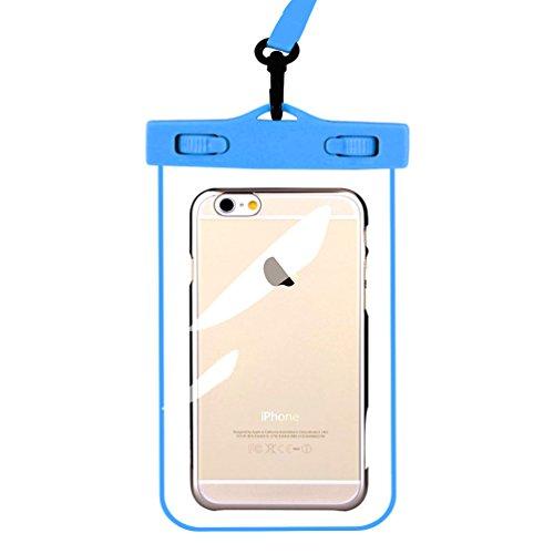 chenfec Universal IPX8Wasserdichte Tasche Dry Bag, wasserdicht, mit Hals Strp für iPhone 6S 66S Plus SE 5S 7Samsung Note Serie und andere Smartphones bis 15,2cm blau