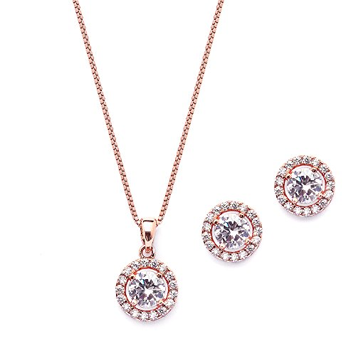 Round Necklace Earring Set - Mariell Ultra Dainty 10.5mm Cubic Zirconia Round Halo Necklace & Stud Earrings Set -14K Rose Gold Plated
