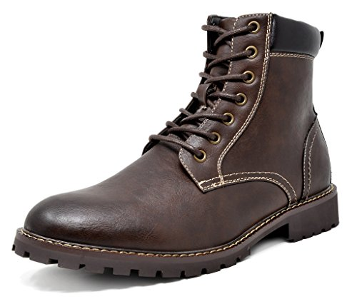 Bruno Marc Men's Stone-03 Dark Brown Motorcycle Combat Dress Oxford Snow Boots Size 11 M US