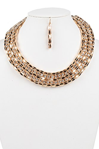 Judys Fashion Cleopatra Style Two Lines Rhinestone Necklace with (Cleopatra Style Necklace)
