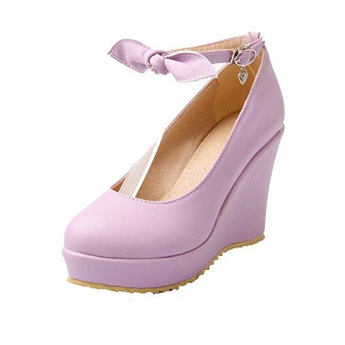 AllhqFashion Damen Weiches Material Rein Hoher Absatz Schnalle Rund Zehe Pumps Schuhe Lila