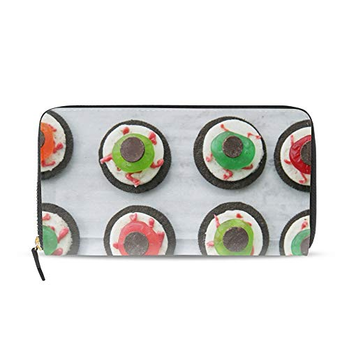 Women Printed Zip Around Wallet Halloween Eyeball Dessert Soft PU Phone Clutch Travel Card Holder -