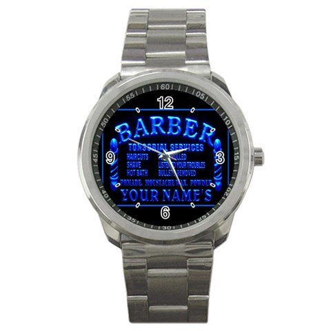 Barber Watch (Barber Shop Funny Logo Sport Metal Watch Special Edition)