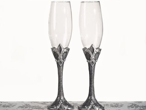 Platinum Fleur De Lis Collection Toasting Glasses