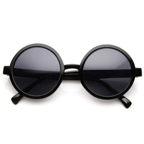 Classic Retro Style Shiny Plastic Round Circle Sunglasses (Black Smoke) -