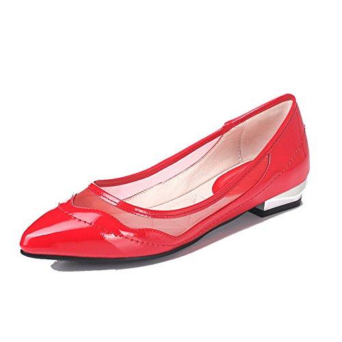 AllhqFashion Damen Rein Lackleder Niedriger Absatz Ziehen auf Spitz Zehe Pumps Schuhe Rot