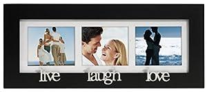 malden international designs live laugh love wood matted collage picture frame 3 option 4x4 black