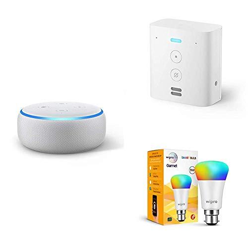 Echo Dot (White) bundle with Echo Flex and Wipro 9W smart bulb