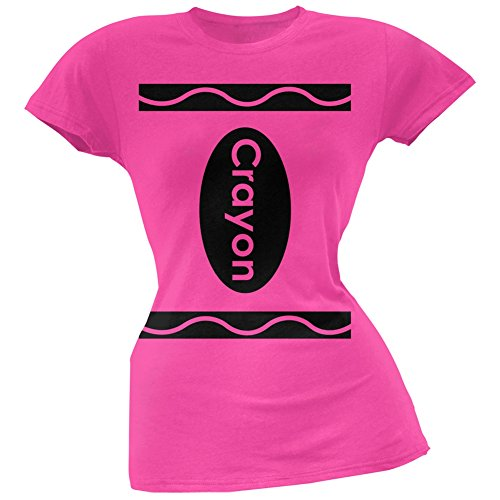 Halloween Crayon Costume Hot Pink Juniors Soft T-Shirt - Small (Hot Costumes For Couples)